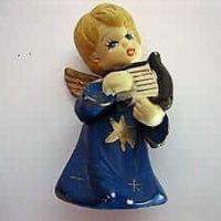 Engelfigur spielt auf Harfe, ca. 8,5 cm, blau