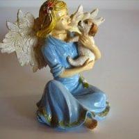 Engelfigur mit Hund, handbemalt, ca. 10 cm groß, Showartikel,