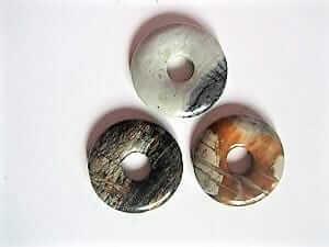 Donut Edelstein-Anhänger Jaspis Picasso, versch. Farben, 30 mm