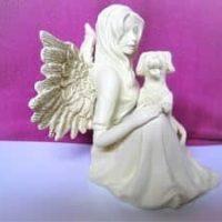 Engelfigur sitzend nit Hund, 6,5 cm, AngelStar