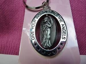Schlüsselanhänger Engel drehend, Metall Silber
