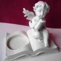 Teelichthalter, Engel auf Buch, Var.1