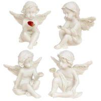 Sitzender Engel mit Diamant versch. Sorten, 4,5 cm