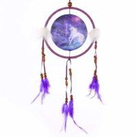 Fantasie Traumfänger Bild Einhorn, lila klein