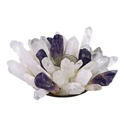 Teelichthalter aus Bergkristall/Amethystspitzen, ca. 18 cm groß