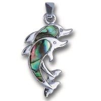 Doppeltdelfin-Anhänger Paua-Muschel an Gliederkette