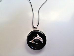 Halskette Donut Obsidian mit Delfin Silber 925 und/oder Band nach Wahl
