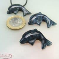 Delfin-Anhänger aus Dumortierit 25x30mm, Heilstein, Schmuck, Kettenanhänger