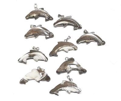 Muschel Delfinanhänger 21x29 mm