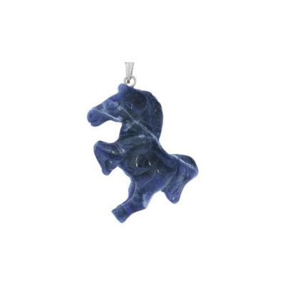 Kettenanhänger Pferd Mineral-Edelstein Sorte Sodalith, 4 cm, Schuck, Heilstein, Tierformen