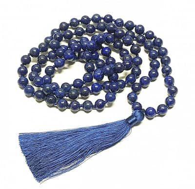 Gebetskette Mala aus Lapislazuli 108 Perlen blau, buddhistisch Perlenkette