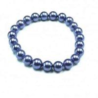 Flexi-Armband Muschelkern Perlen blau glänzend, 8mm Kugeln, 19 cm, Schmuck
