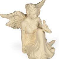 Schutzengel des Friedens mit Taube sitzend, 9 cm hoch, AngelStar, Taubenzüchter