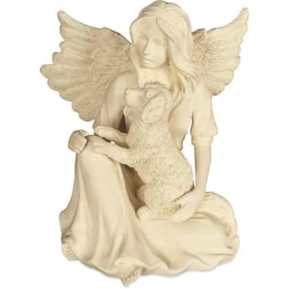 Schutzpatron Tiere Engelfigur mit Hund Schutzengel sitzend 9,0 cm AngelStar