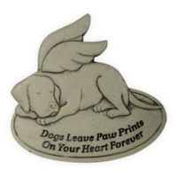 Hunde Gedenkstein flach 25x25 cm mit Aufschrift Hundeengel, Tierengel