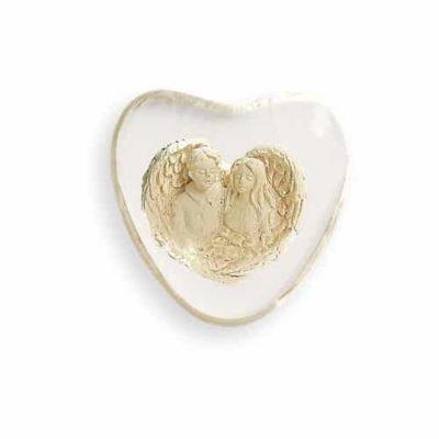 Engelpaar im klarem Stein herzförmig 3,5 cm
