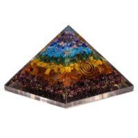 Orgonit Pyramide mit 7 Chakren Mineraleldelsteine, Spirale, 7,5x7,5 cm kraftvolle Energie