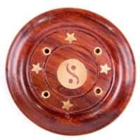 4fach Räucherstäbchenhalter Yin Yan Motiv aus gehärtetem Sheeshamholz gewachst rund