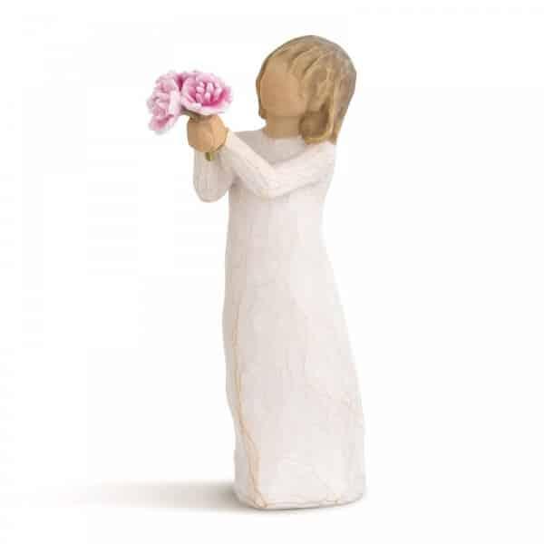 Willow Tree Figur mit Blumenstrauß von Susan Lordi, 14,0 cm groß.