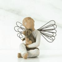 Willow Tree Engelkind mit Hundewelpe, Angel of Comfort von Susan Lordi, 8 cm