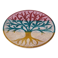Räucherstäbchenhalter rund 10 cm mit farbiger Gravur Lebensbaum Material Black Stone