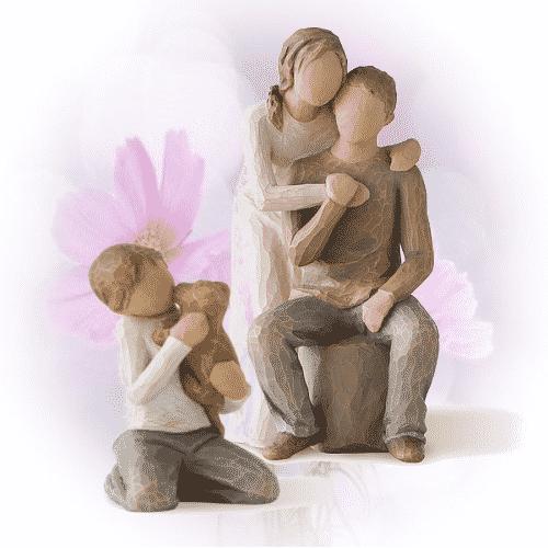 Set Willow Tree Figuren: Kleine harmonische Familie mit Hund, Susan Lordi