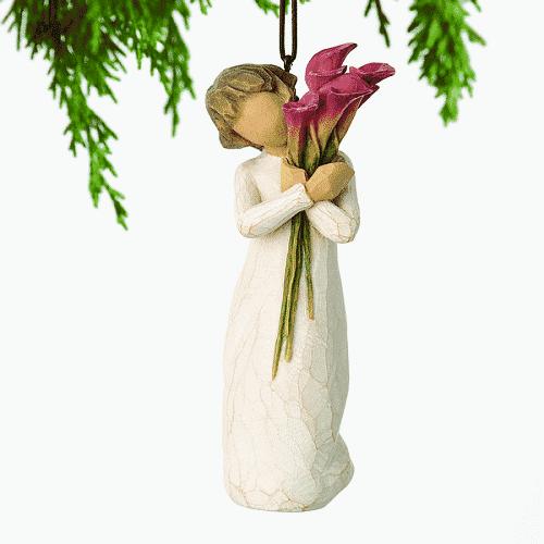 Willow Tree Figur mit roten Lilien (bloom) 11 cm, incl. Aufhängeschlaufe in Box mit Kärtchen