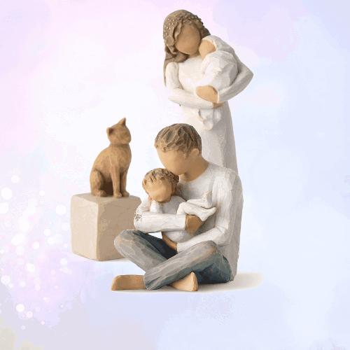 Willow Tree Figur Familie-3er-Set mit Katze Promise, Katze und Kindness