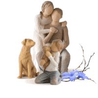 Willow Tree Familie-3er-Set, Du und Ich, kindness und Hund hell von Susan Lordi in Geschenkbox mit Kärtchen, Vorteils-Set