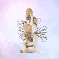 Gruppe Engel mit Hund, Schutzengel für Tiere Willow Tree von Susan Lordi in Geschenkbox mit Kärtchen und Spruch, 8-14 cm