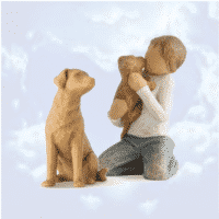 Willow Tree Gruppe Friendship mit Hund hell, 7,5 - 8,5 cm, von Susan Lordi Hundemutti, Junge mit Welpe