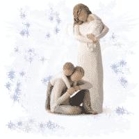 Willow Tree Familie Set: 1x Mama mit Baby 1x Vater mit Junge Susan Lordi in Box mit Kärtchen und Spruch
