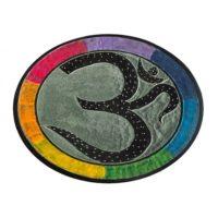 Räucherstäbchenhalter OM Zeichen, rund 10 cm, Speckstein Regenbogenfarbig