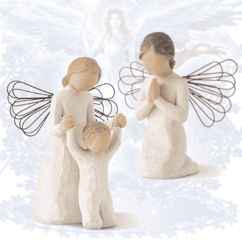 Willow Tree Engel Figuren-Set Schutzengel und betender Engel 10,5-12,7 cm von Susan Lordi Prayer und of guardian in Geschenkbox mit Kärtchen und Spruch
