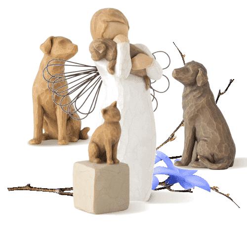 Willow Tree - Set Schutzengel für Tiere - 2 Hunde, 1 Katze, 1 Engel mit Hund (Friendship) von Susan Lordi in Geschenkbox mit Kärtchen