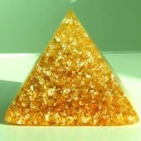 Sonnenpyramide aus Bergkristall, Blattgold Blattsilber, 7,5 x 7,5 cm, Schutz, Energie