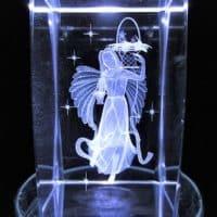 Kristall-3D-Laserblock mit neuem Engel, 5x5x8 cm