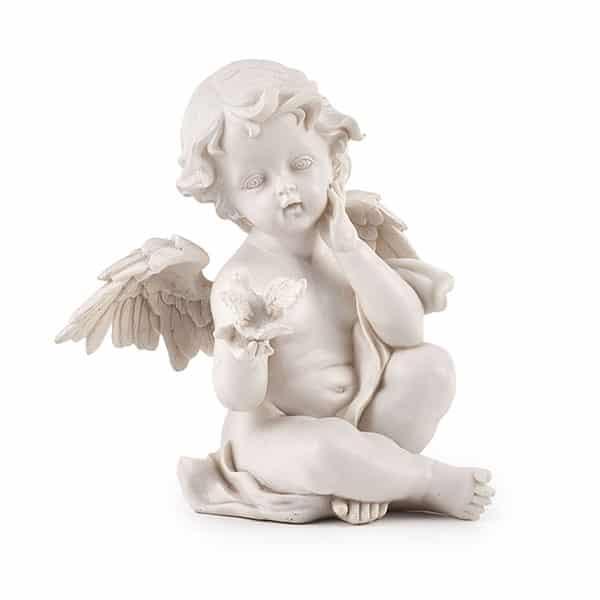 Engel Figur Grabengel Azea, 16 cm, mit Vogel, Statue, Skulptur