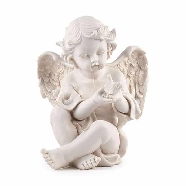 Engel Figur Camael sitzend mit Vogel, 29,5 cm, Schutzengel für Tiere, Polyresin