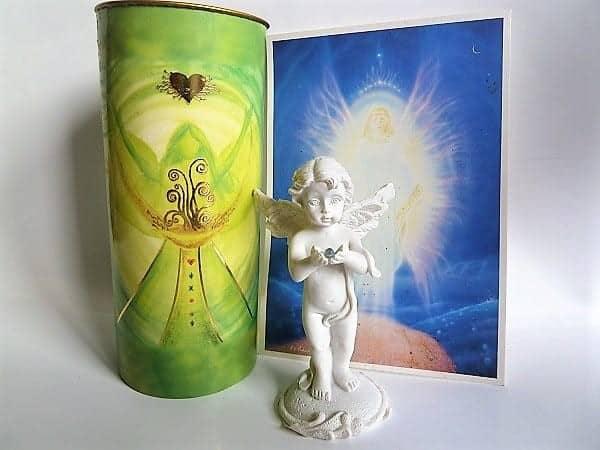Set Engel stehend mit Diamant + Affirmation-Kerze Engel des Reichtums, 8,5 cm
