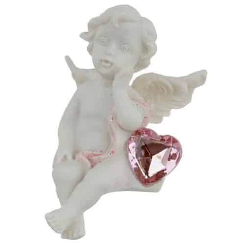 Engel Nr. 2 Kantenhocker mit Herz rosa glänzend