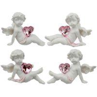 Engelchen 1 klein mit rosa glänzendem Herz 5,5x5x4,7 cm
