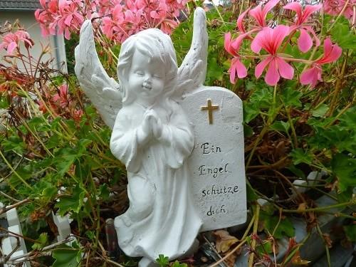 Schutzengel, Grabengel mit Gedenkstein Ein Engel schütze dich wetterfest 26 cm
